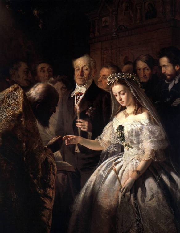 Unequal marriage, a 19th-century painting by Russian artist Pukirev